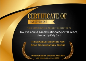 """ISA Certificate of Achievement for """"Tax Evasion: A Greek National Sport"""" directed by Kelly Sarri"""