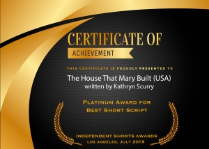 """ISA Certificate of Achievement for """"The House That Mary Built"""" written by Kathryn L. Scurry"""
