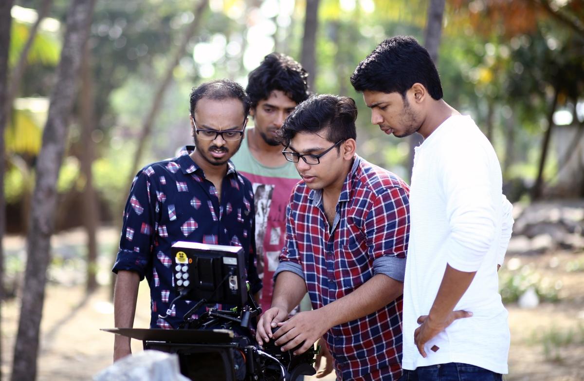 Vishnu Udayan with his crew on the set